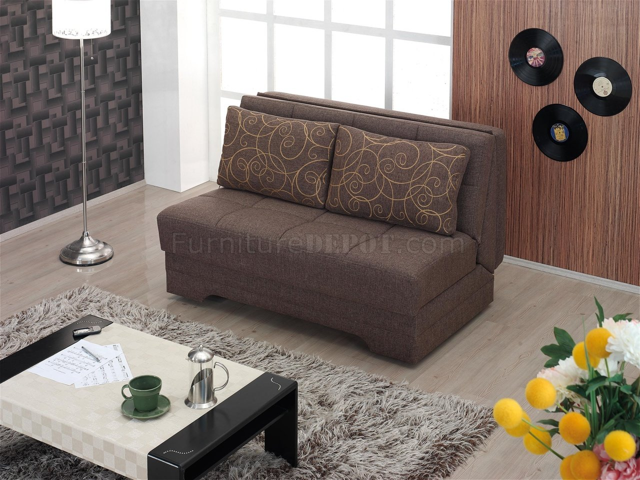 El Paso Loveseat Bed Convertible In Brown Fabric By Empire