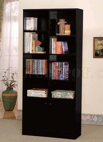 Black Finish Modern Bookcase W Two Doors Amp Shelves