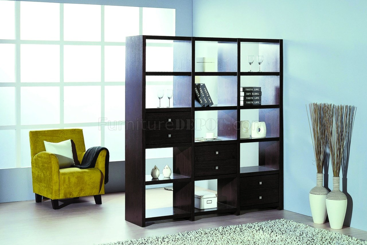 contemporary shelf unit room divider w additional drawers