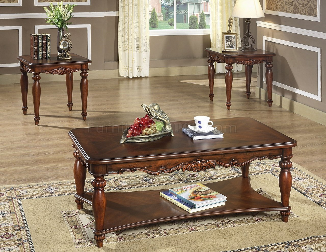 Rich Walnut Finish Traditional 3pc Coffee Table W Cocktail