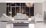 White Leather Contemporary 3PC Living Room w/Adjustable Headrest