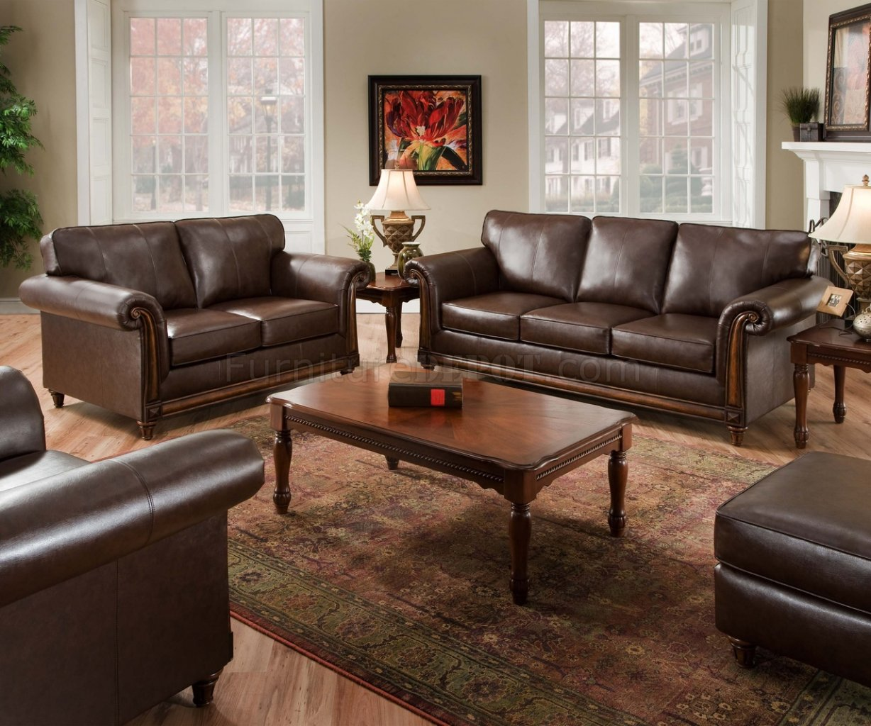 Coffee Soft Bonded Leather Sofa & Loveseat Set w/Options
