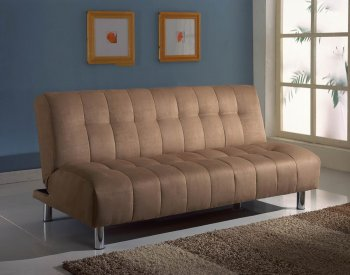 Reviews Taupe Microfiber Modern Sofa Bed Convertible w Metal Legs