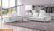 White Fabric Modern Sofa & Loveseat Set w/Optional Chair