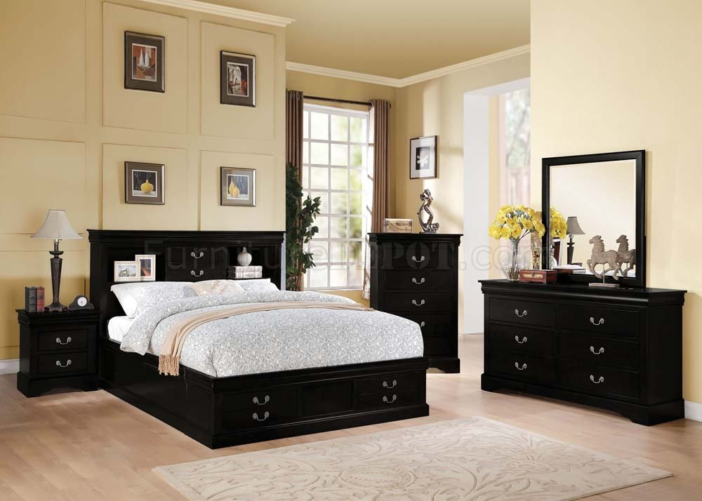 Louis Philippe III 5Pc Bedroom Set In Black By Acme W Options