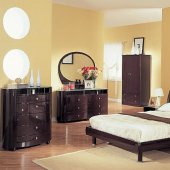 Wenge High Gloss Finish Contemporary Bedroom Set