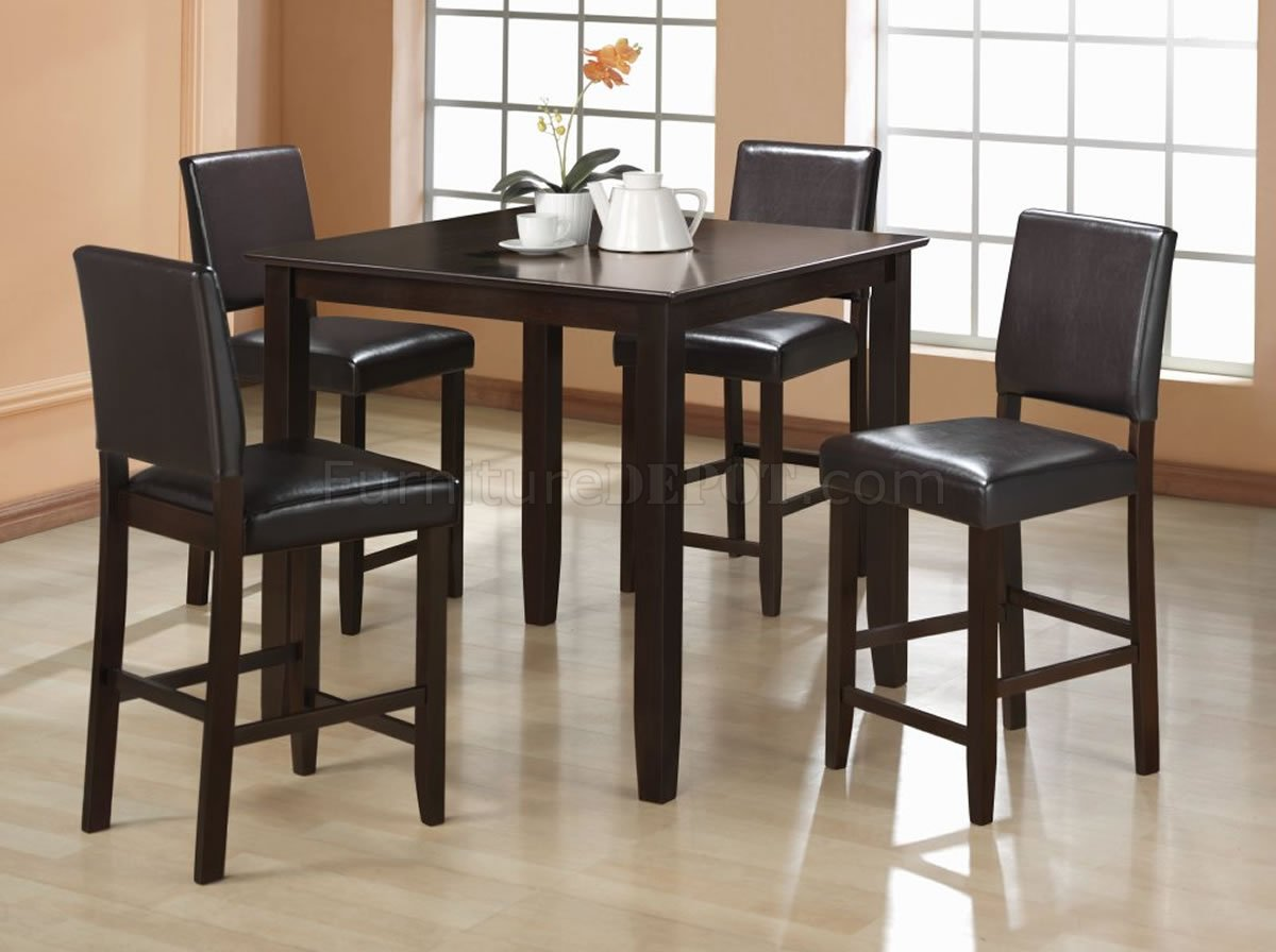 cappuccino finish contemporary counter height 5 pc dinette set