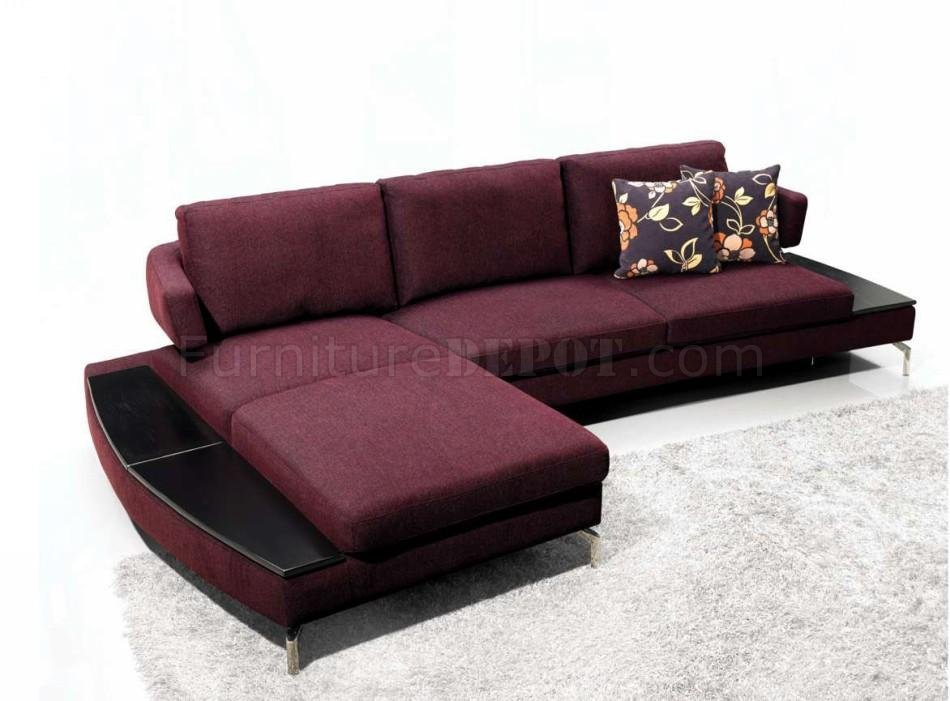 Purple Fabric Modern Elegant Sectional Sofa W Metal Legs