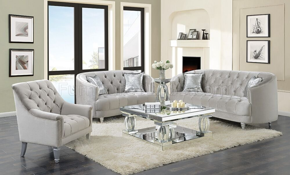 Avonlea Sofa 508461 In Grey Velvet By Coaster W Options