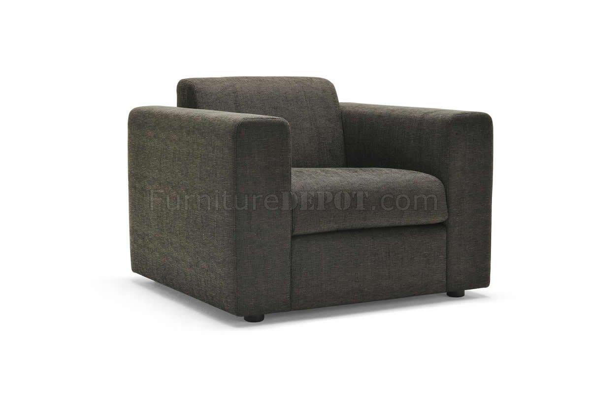 Dark Brown Fabric Contemporary Sofa U0026 Armchair Set