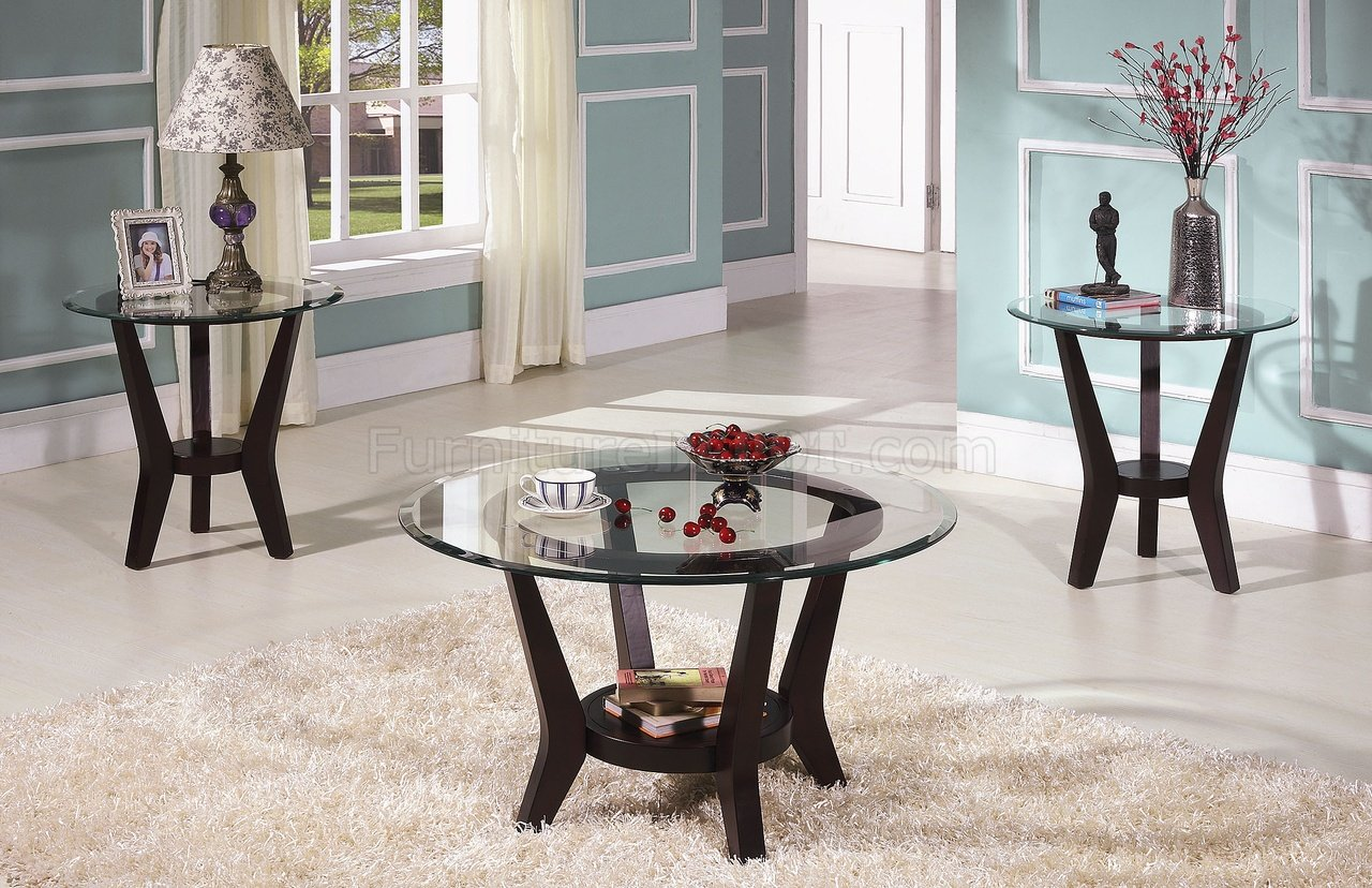 & Brown Cherry Coffee Table u0026 End Tables 3PC Set w/Clear Glass Top