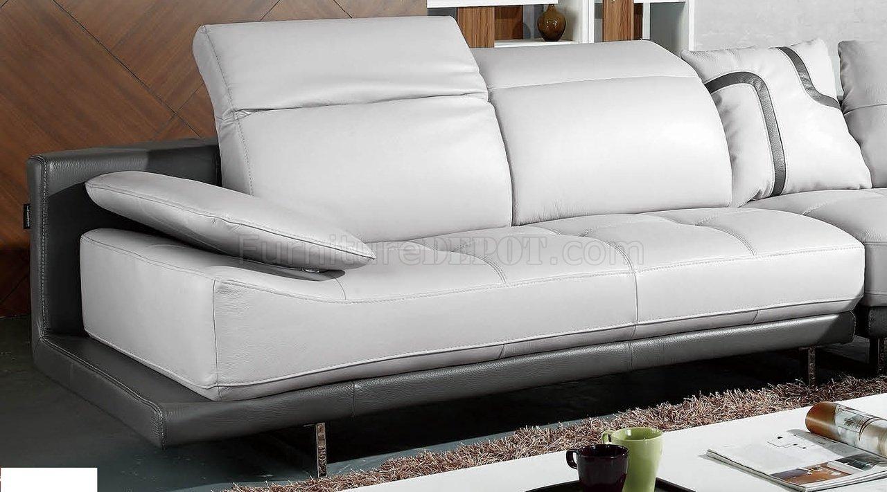 White Amp Grey Top Grain Full Leather Modern Sectional Sofa