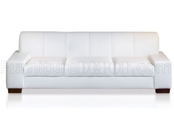 White Bonded Leather Modern Sofa Loveseat Set