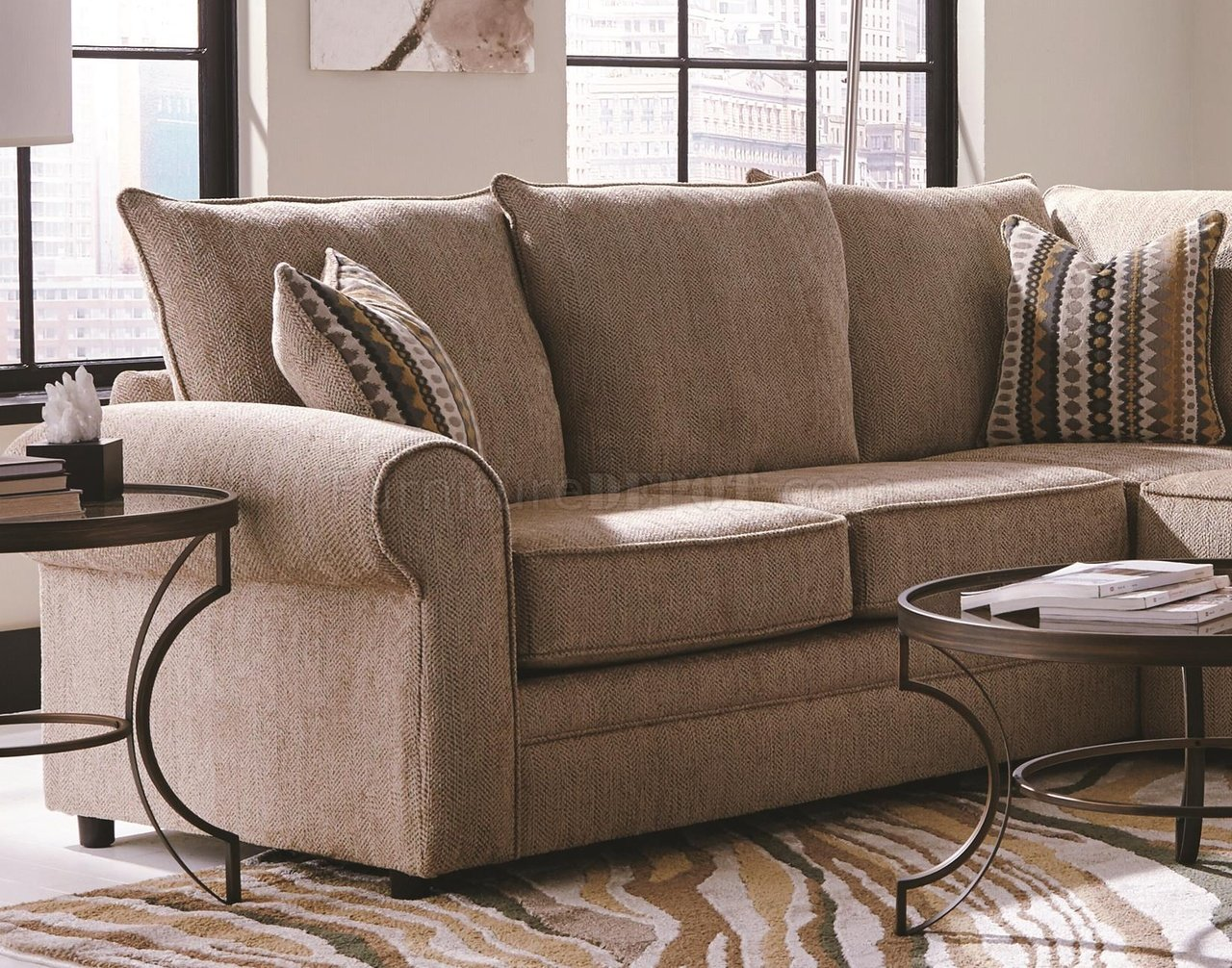Fairhaven sectional sofa 501149 in cream fabric by coaster Cream fabric sofa