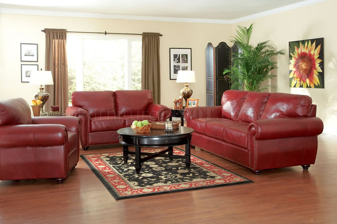 Burgundy full leather traditional living room woptions crs 501981