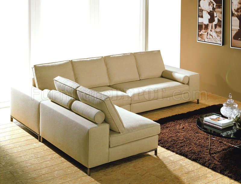 Twill Fabric Modern 3 Piece Modular Sectional Sofa Pegeen Cream