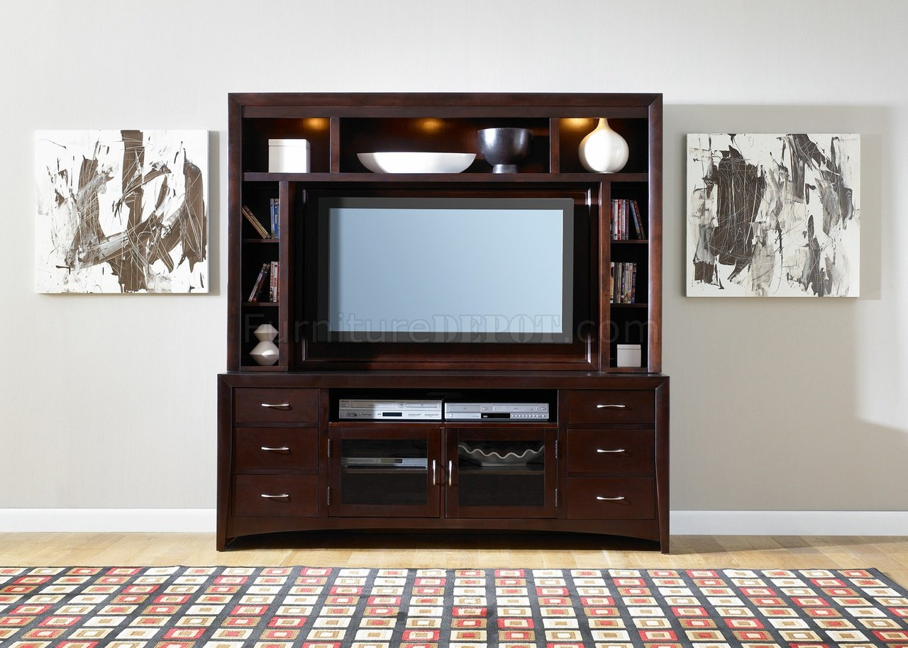 Merlot Finish Modern Entertainment Unit w/Adjustable Shelving