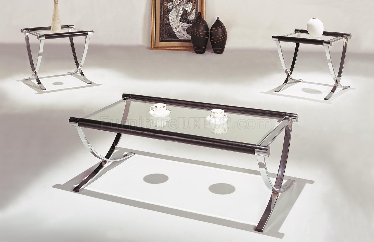 Set of glass top contemporary coffee end tables w chrome Glass modern coffee table sets