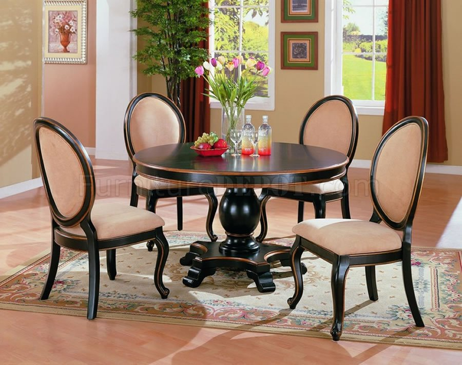 Two tone elegant dining room set with round table for Dining room table sets