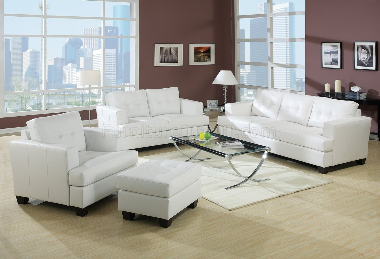 living rooms with white sofas bonded leather living room 15095 white 22435
