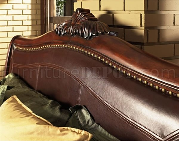 Distressed Cherry Finish Classic Bedroom W Sleigh Bed