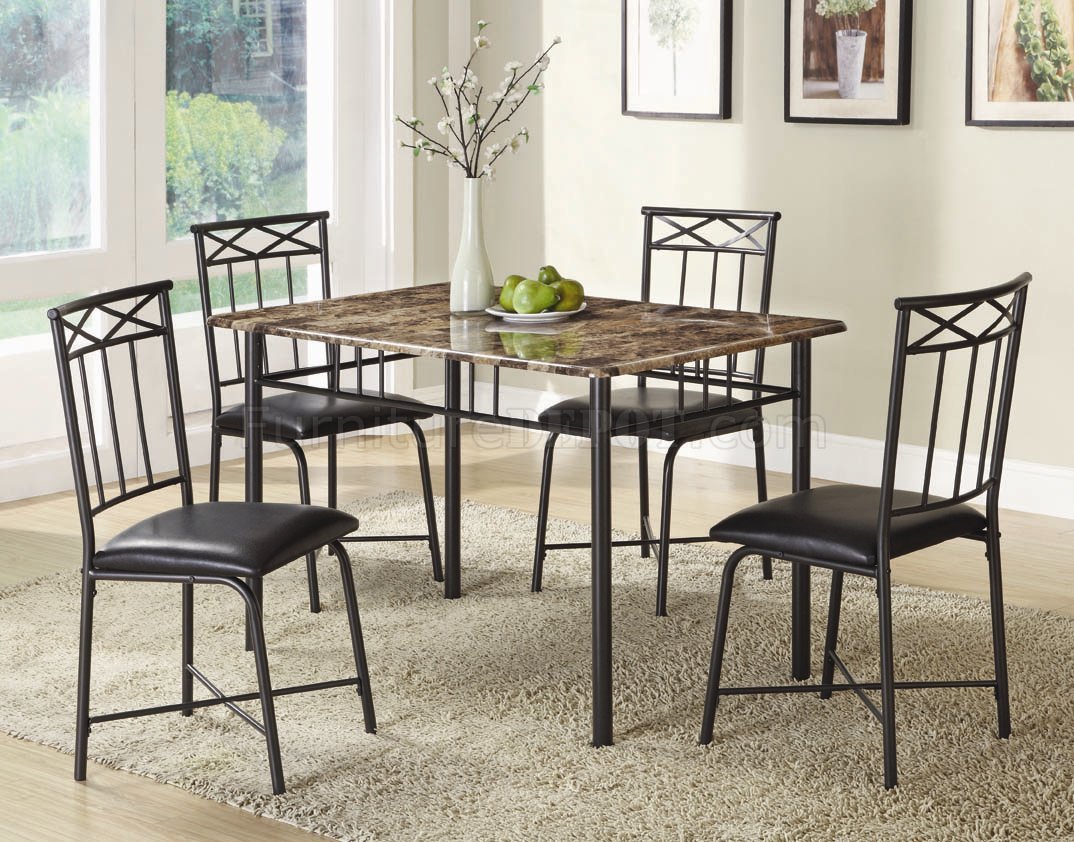 & Faux Marble Top \u0026 Black Metal Legs Modern 5Pc Dinette Set