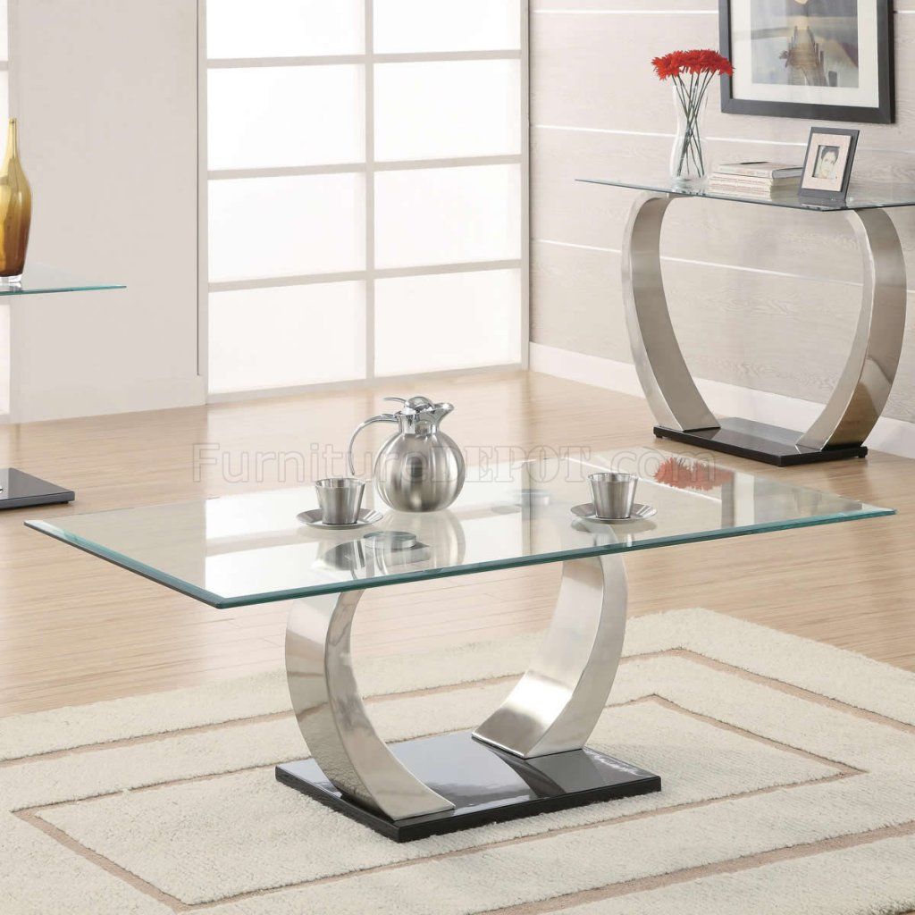 Silver Metal And Glass Coffee Table: Glass Top & Curved Metal Legs Modern Coffee Table W/Options