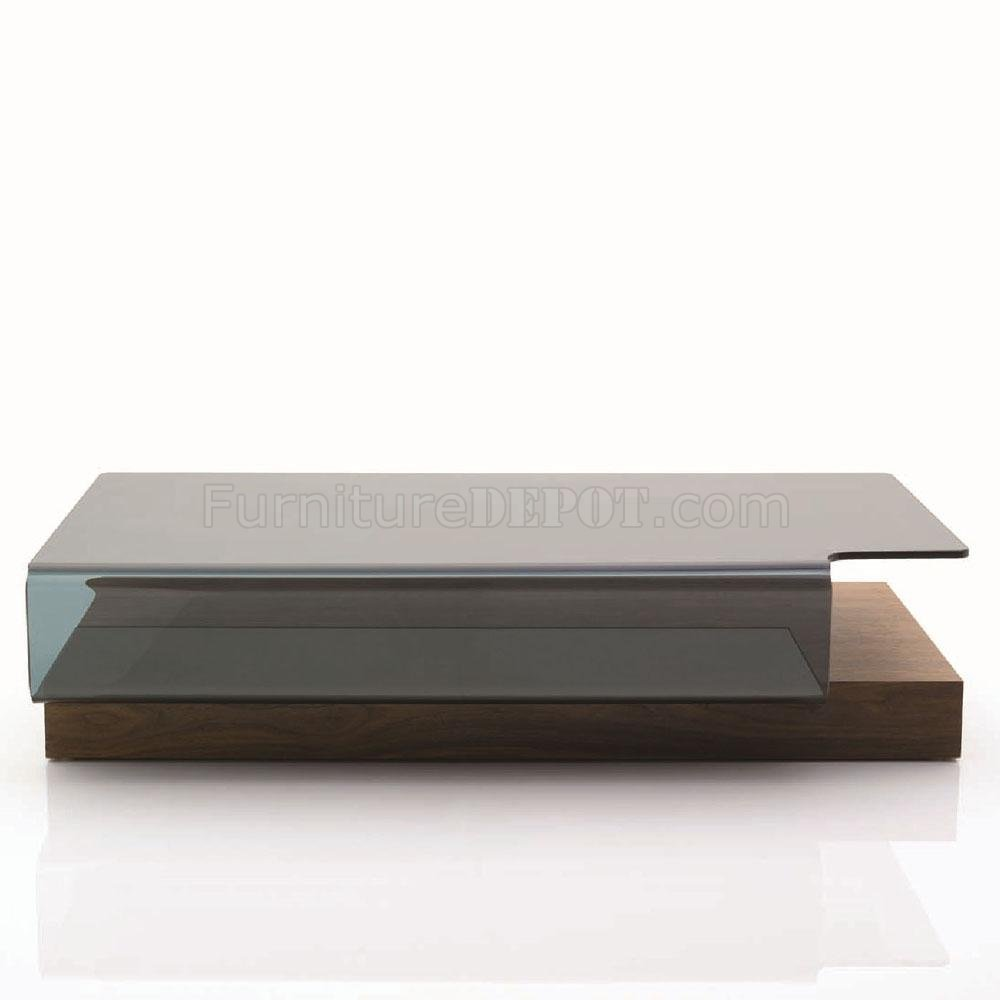 Brown base contoured glass top modern coffee table for Contemporary glass top coffee table