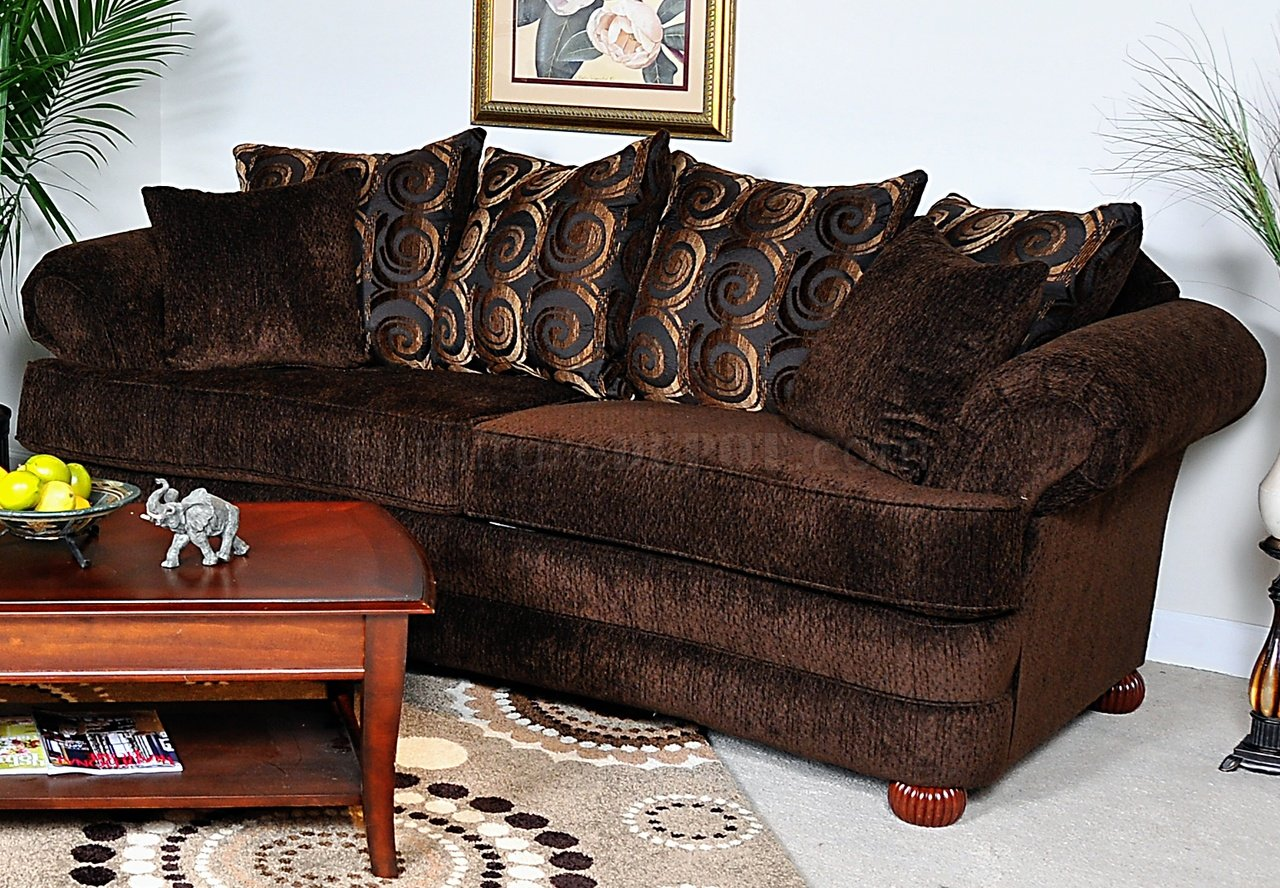 Dark brown baring rust fabric contemporary sofa loveseat set for Living room with rust colored sofa