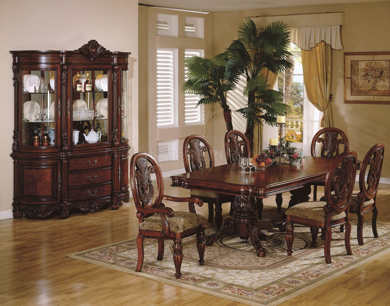 cherry finish traditional dining room w hand carved details