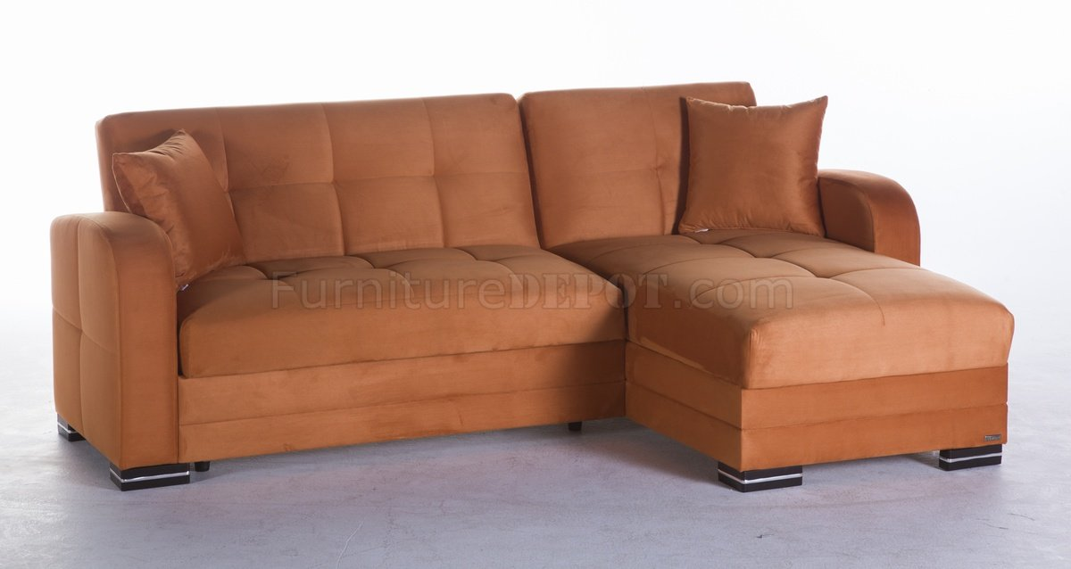 Kubo Sectional Sofa Bed In Rainbow Orange Fabric By Sunset