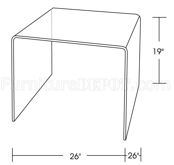 Clear Tempered Glass Contemporary Bent End Table