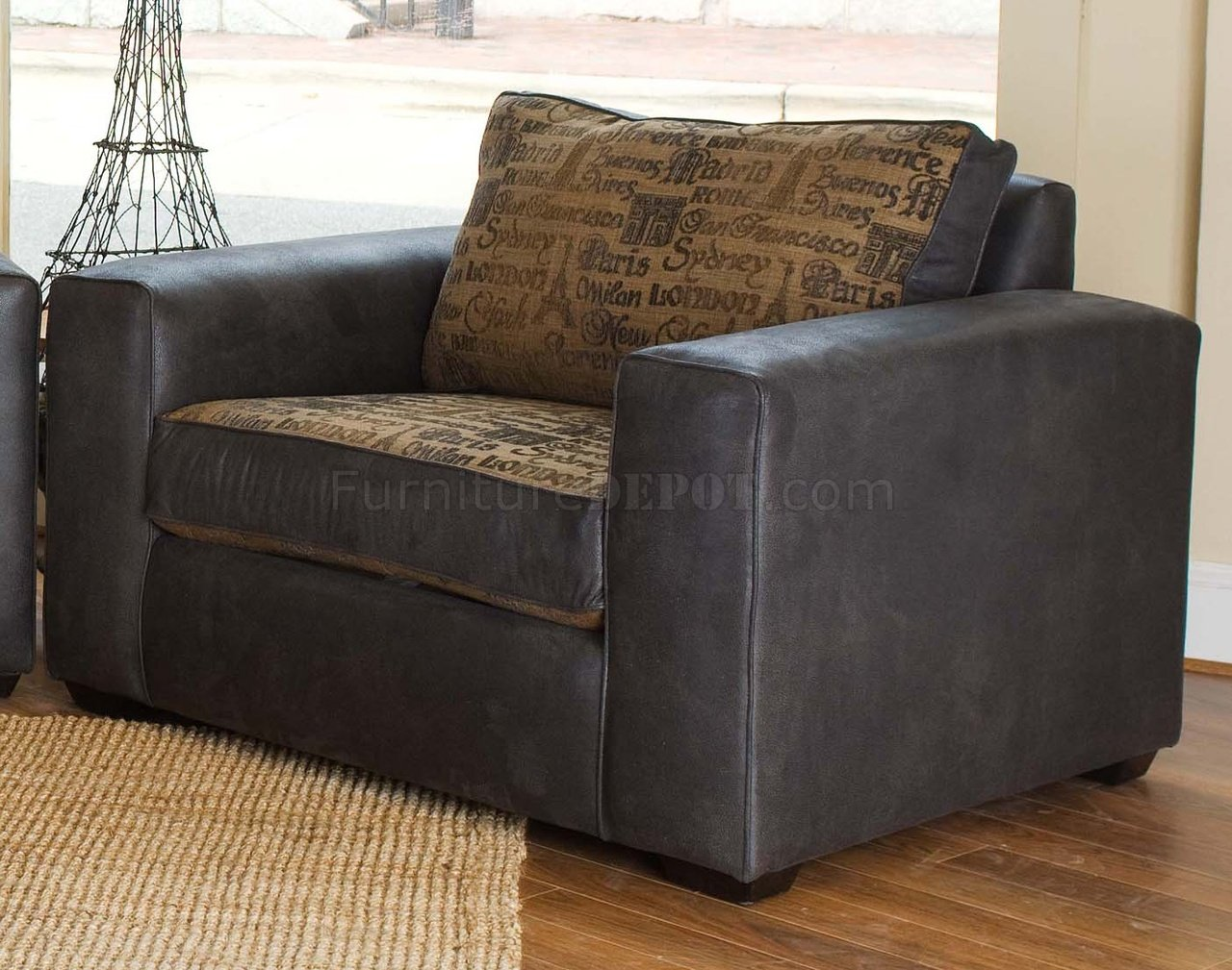 Fabric leather modern living room sofa large chair set for Large living room chairs