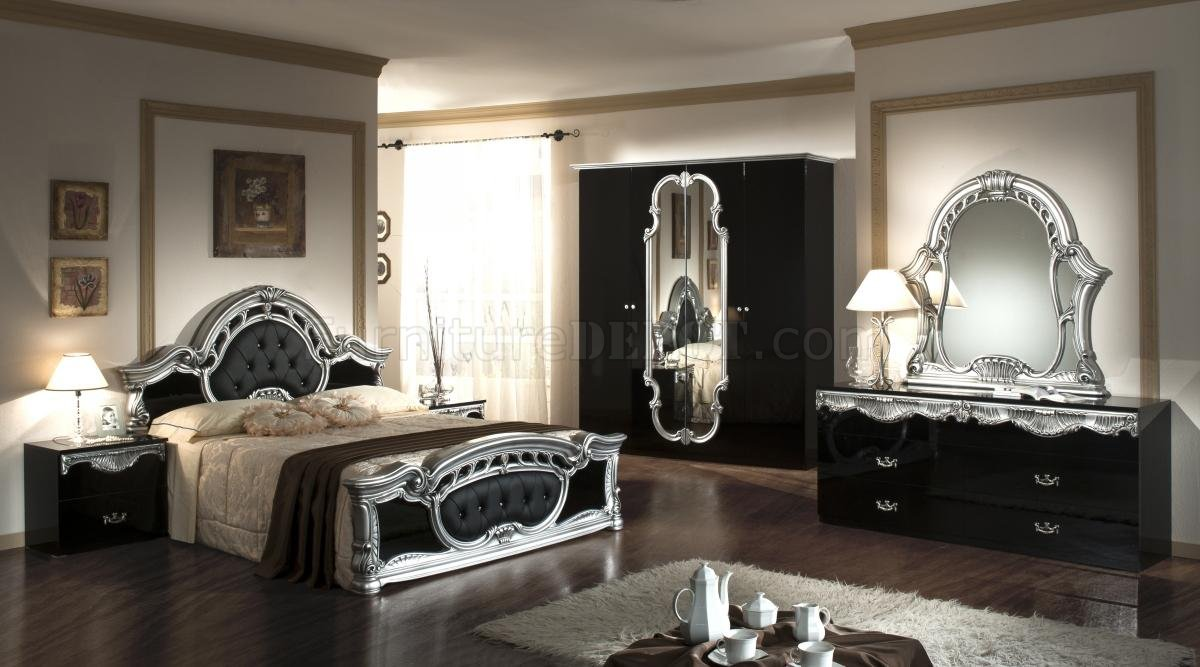 rococo bedroom traditional in bllack silvervig
