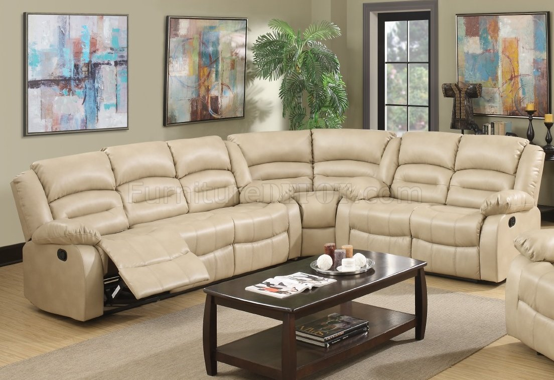 9173 Reclining Sectional Sofa in Cream Bonded Leather w ...