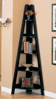 Rubbed Black Or Mahogany Finish Modern Corner Shelves
