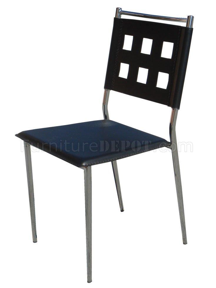 Black Vinyl Set of 4 Modern Dining Chairs wChrome Frame : 784e20b848b78fcae57fbeed818fbc7fimage734x979 from www.furnituredepot.com size 734 x 979 jpeg 42kB