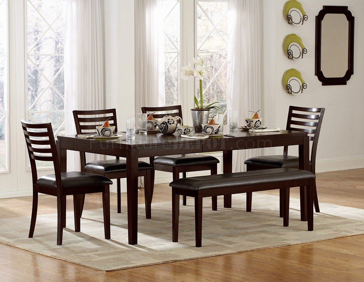 Espresso Finish Modern Dining Table WOptional Chairs amp Bench