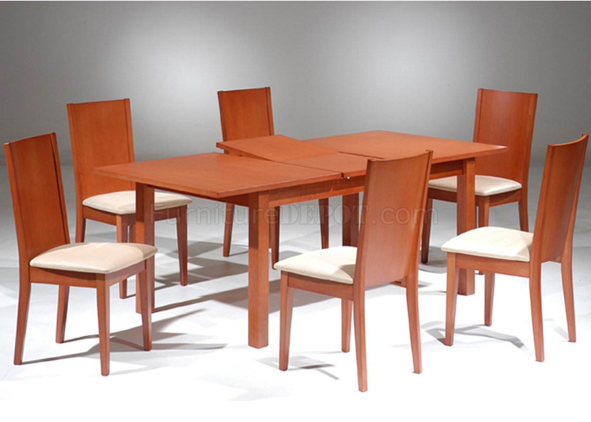 Cherry Finish Modern Dining Table W Extension Optional Chairs