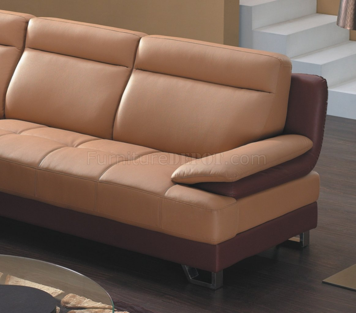 Camel Amp Brown Bonded Leather 8045 Modern Sectional Sofa