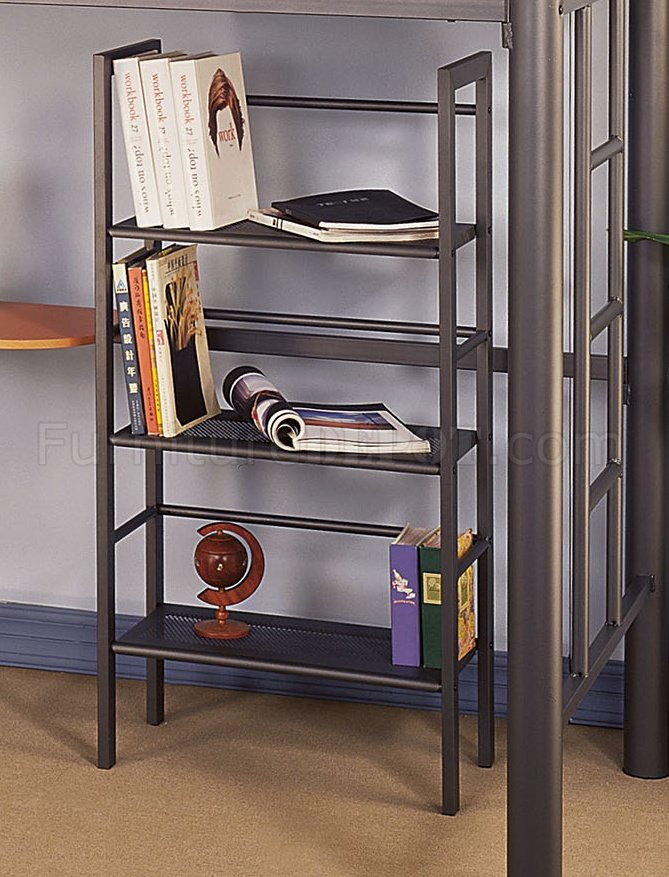 Siver metal contemporary twin loft bed w desk amp bookcase