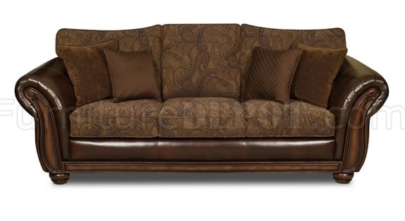 Vintage chenille sofa loveseat set w brown bonded leather base Chenille sofa and loveseat