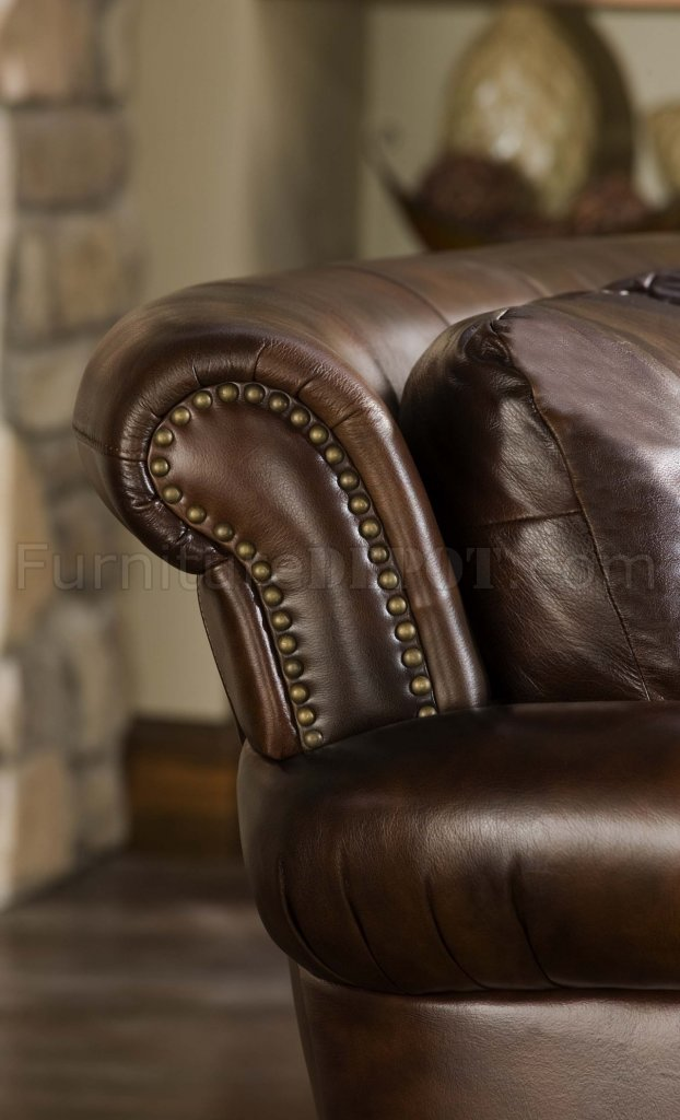 Cognac Top Grain Leather Traditional Sofa W/Optional Items
