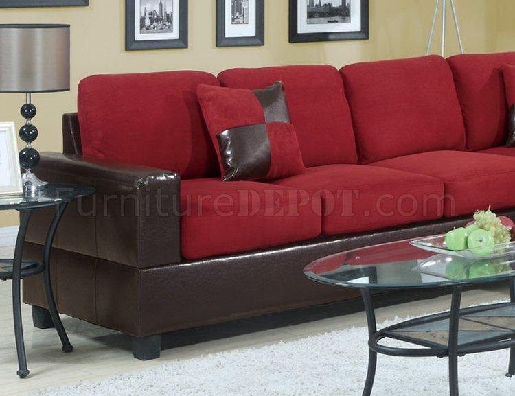 Red Plush Microfiber Modern Sectional Sofa