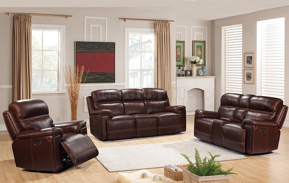 Fresno Power Motion Sofa & Loveseat Set Brown by Leather Italia