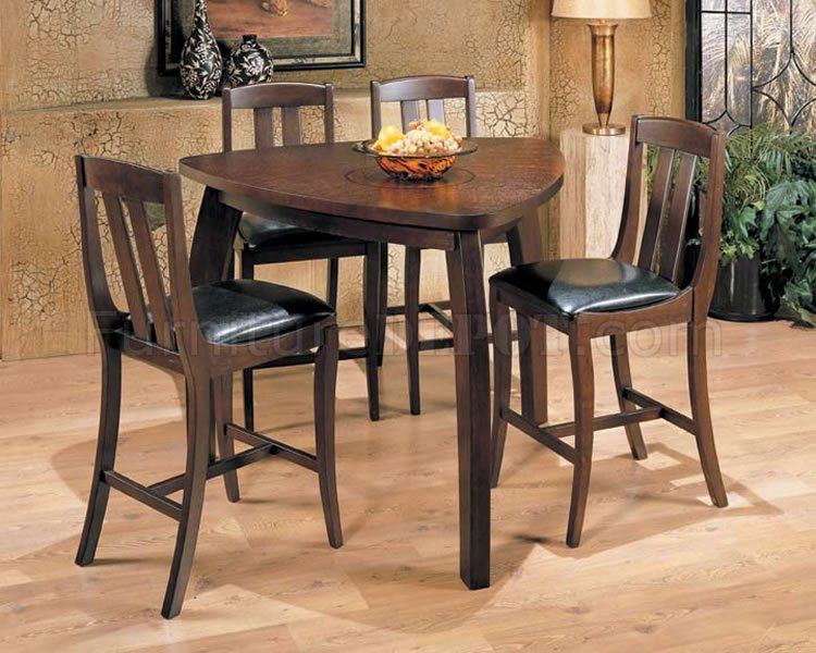 Triangle shape bar height dinette with brown matte finish for Triangle shaped dining room table
