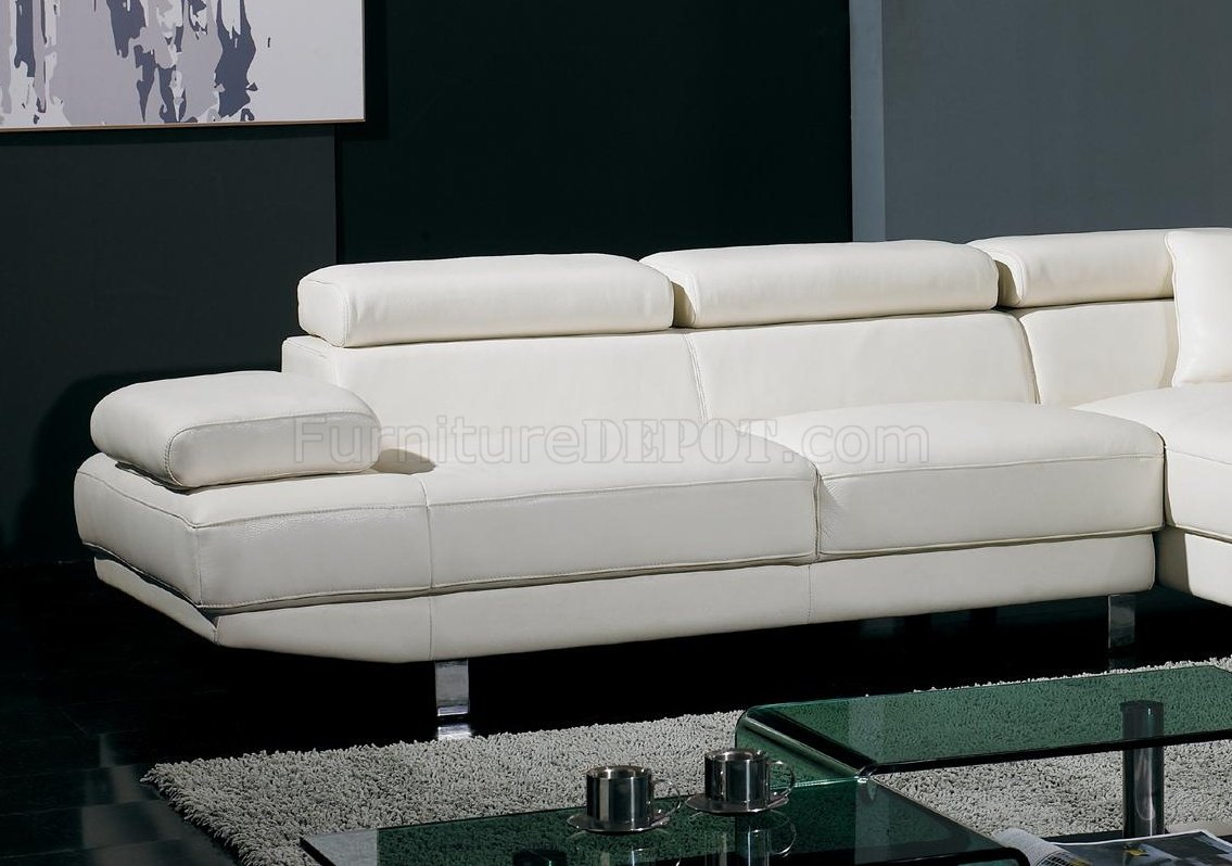 T60 White Leather Sectional Sofa W Adjustable Headrests Amp Arm
