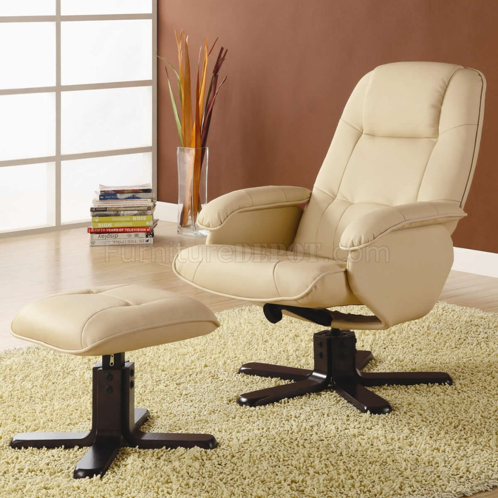 Ivory Bonded Leather Match Modern Swivel Chair w/Ottoman