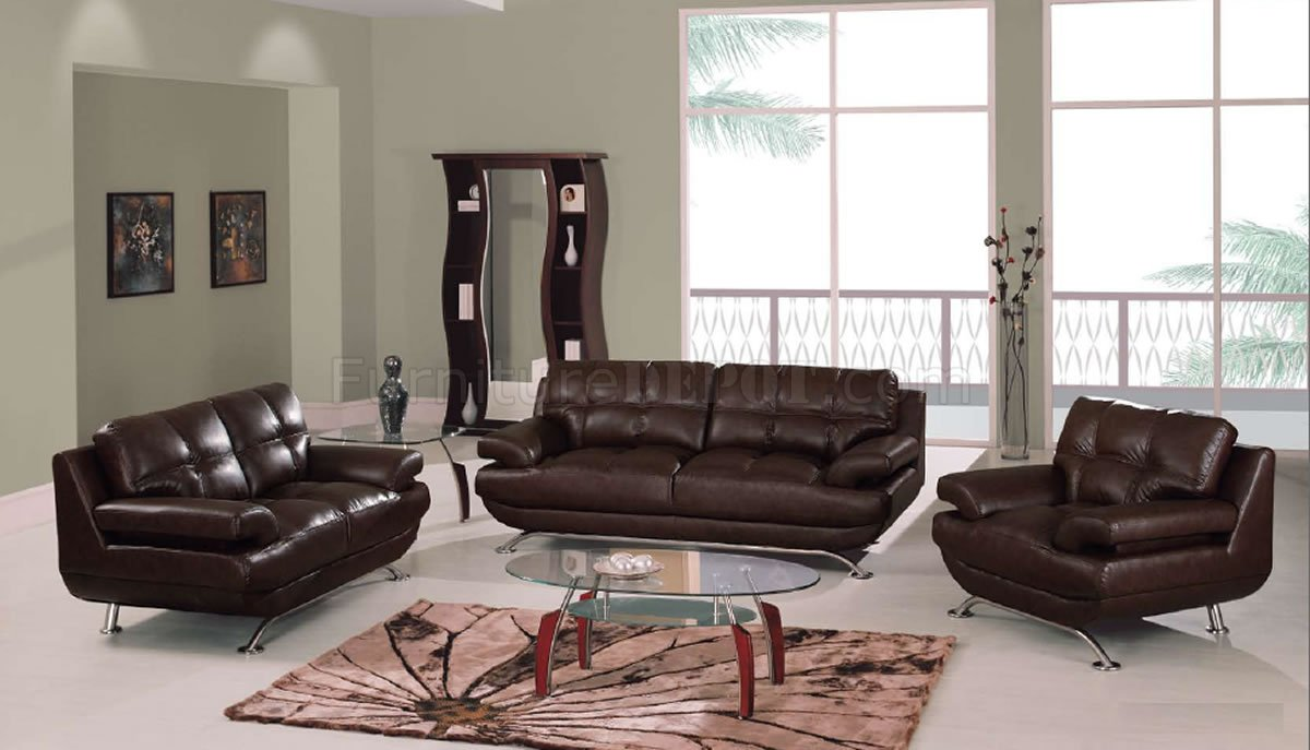 Brown leather elegant contemporary living room w tufted seats - Elegant contemporary living rooms ...