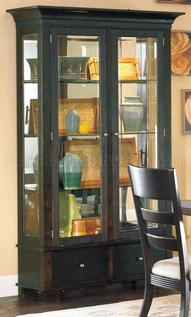 rich mocha finish modern china cabinet